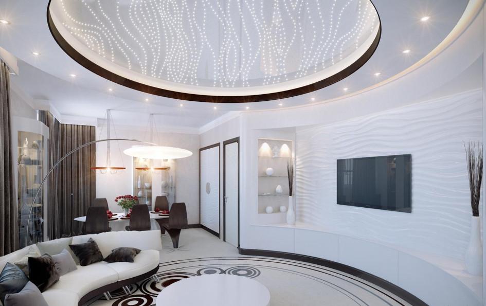 Круглые формы не всегда связаны с изогнутостью несущих стен. Иногда круглой может стать самая обычная квартира с прямыми углами — для этого архитекторы специально возводят радиальные внутренние перегородки