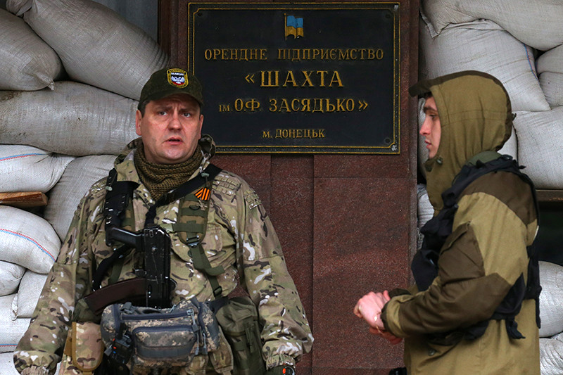 Военнослужащие ДНР на территории шахты им.Засядько