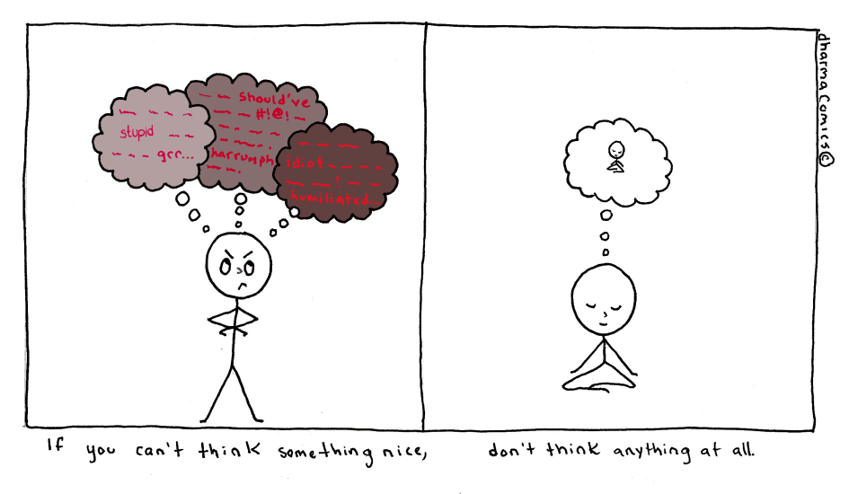 «Если ты не можешь подумать о чем-то хорошем— лучше не думай ни о чем». Один из комиксов Леи Перлман
