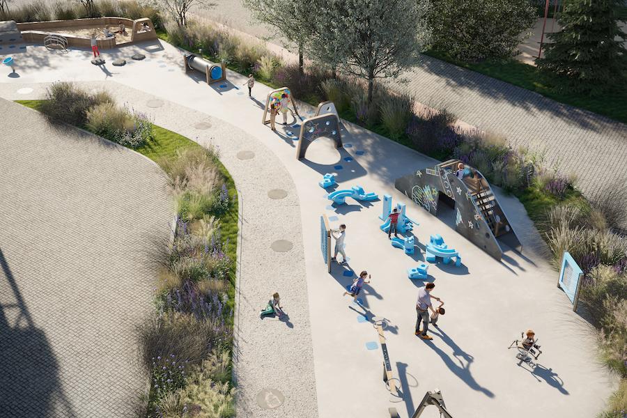 Рендер площадки «Творчество» в строящемся West Garden