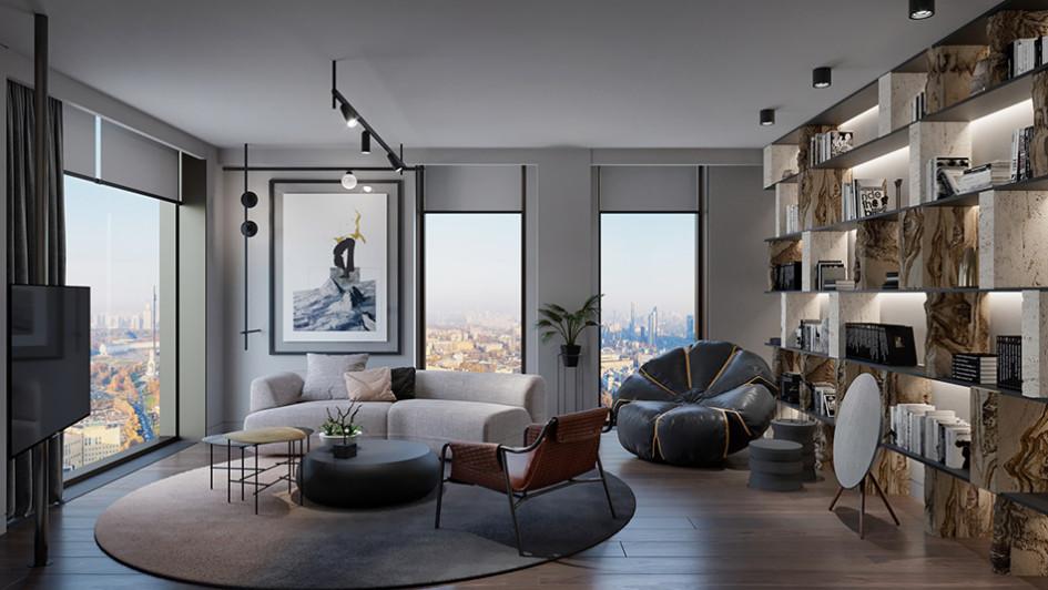 Один из трех дизайнов интерьера апартаментов