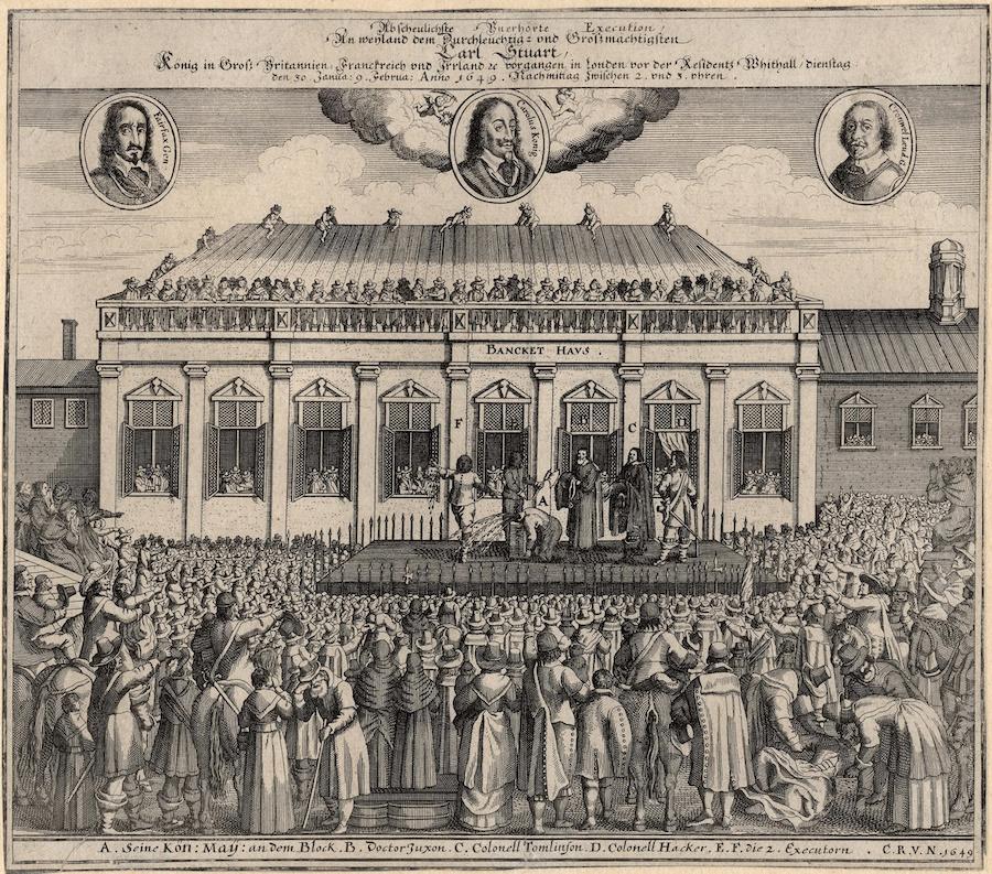 Казнь короля Карла I Стюарта в 1649 году, немецкая гравюра