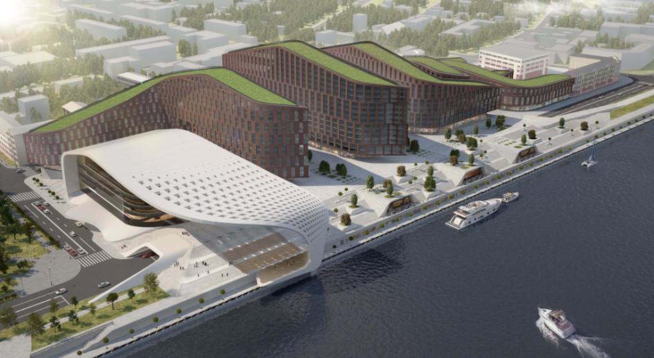 По мысли архитекторов, сдальних точек обзора силуэты зданий будут напоминать рельеф берегов Байкала