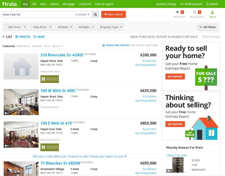 Средний пользователь Trulia.com находится на сайте не более 6 минут, за это время он просматривает 6,61 страницы