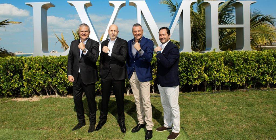 Рикардо Гвадалупе (Hublot), Стефан Бьянки (TAG Heuer), Жан-Кристоф Бабен (Bvlgari), Жюльен Торнар (Zenith) на пресс-конференции в Дубае