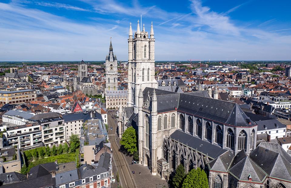 Вид на собор Св. Бавона вГенте, Бельгия