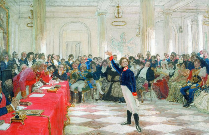 «Пушкин на лицейском экзамене в Царском Селе 8 января 1815 года», И. Репин, 1911