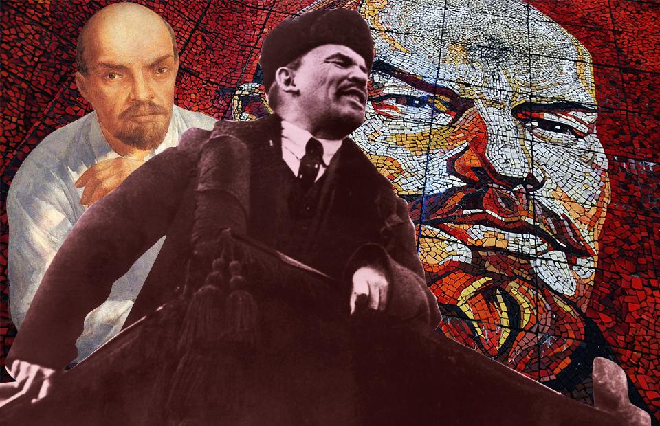 В коллаже использованы портреты В.Ленина:картина К. Петрова-Водкина (1934), мозаика Т. Джолагонии (1980), снимок с Красной площади (1918)