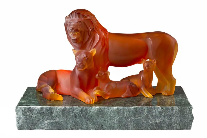 Скульптура «Семья львов» (12 экз.), коллекция «Гея», Lalique