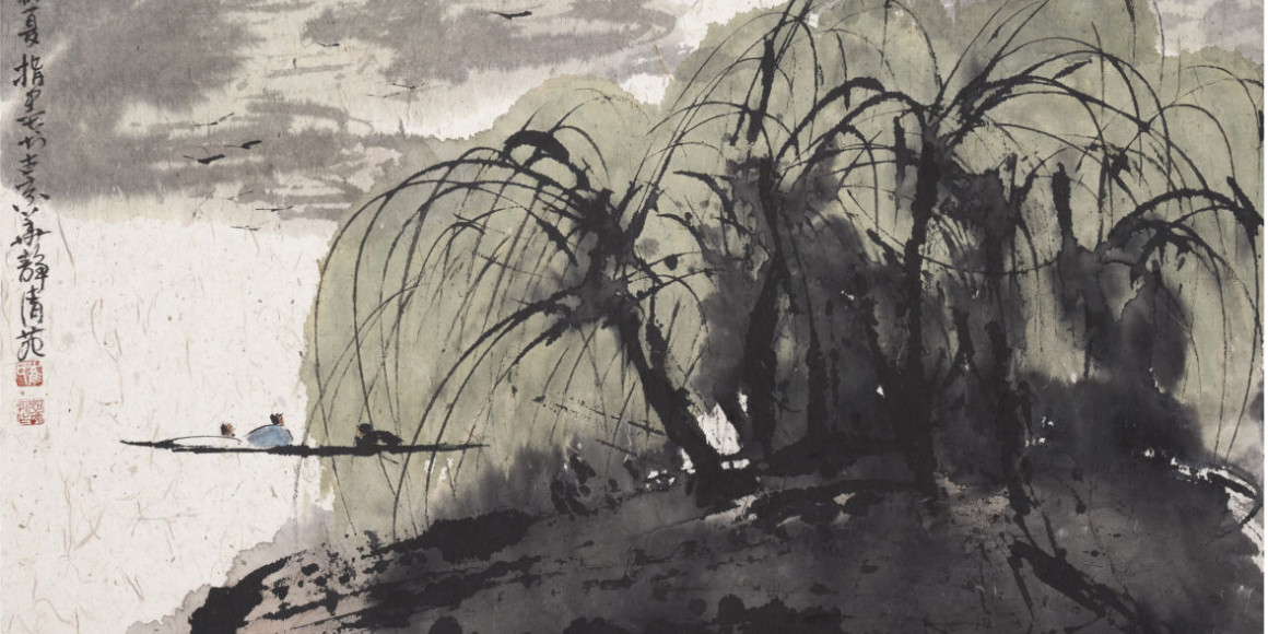 Цуй Жучжо. «Дикий персик улыбается при виде бамбуковой изгороди». Фрагмент