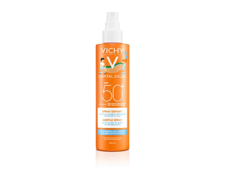 Солнцезащитный спрей для детей Capital Solei SPF50+, Vichy. Включает в себя запатентованные фильтры Mexoryl, обеспечивающие высокую степень защиты детской кожи от УФА- и УФБ-лучей, а также ухаживающие активные компоненты, витамин Е и вулканическую термальную воду Vichy.