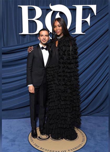 В платье и кейпе Azzedine Alaïa с Имраном Амедом на гала-вечере BOF 500, 2019 год