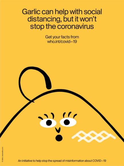«Чеснок поможет с социальной дистанцией, но не остановит коронавирус. Ищите достоверные факты о COVID-19 на who.int/covid-19»