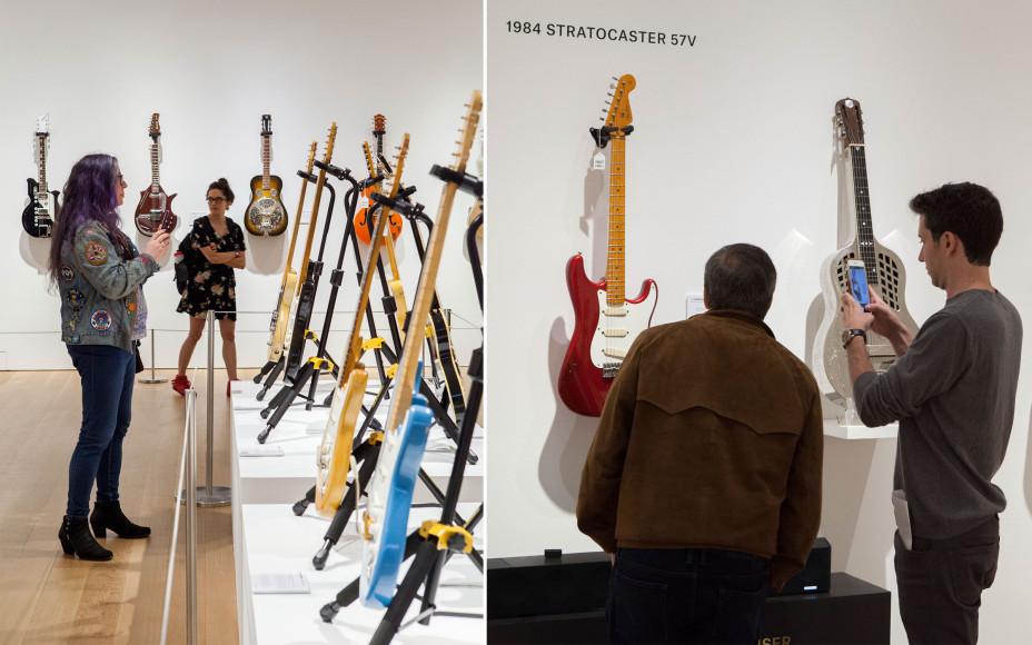 Предаукционная выставка гитар Дэвида Гилмора в Рокфеллеровском центре в Нью-Йорке