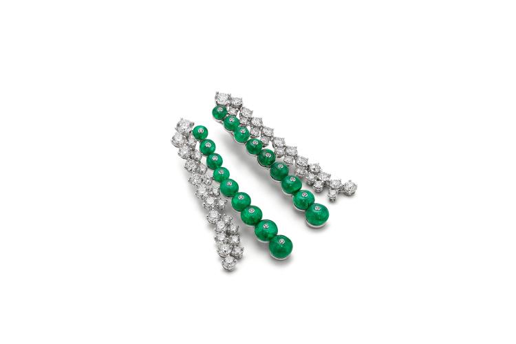Серьги Emerald Riviere, изумрудные бусины 25,48 каратов