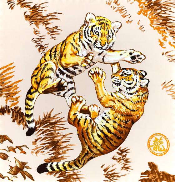 Платок Hermès «Les Tigreaux» («Тигрята»), автор — Робер Далле (Robert Dallet)(1923-2006), был выпущен в 2008 году, крайне малым тиражом в 400 экземпляров специально для благотворительного фонда Jackie Chan Charitable Foundation. Восторженный и цепкий дух известнейшего актера Джеки Чана хорошо демонстрируется двумя игривыми тигрятами. Полные энергии и радости, они также представляют светлое будущее, которое Джеки Чан предвидит для будущих поколений.