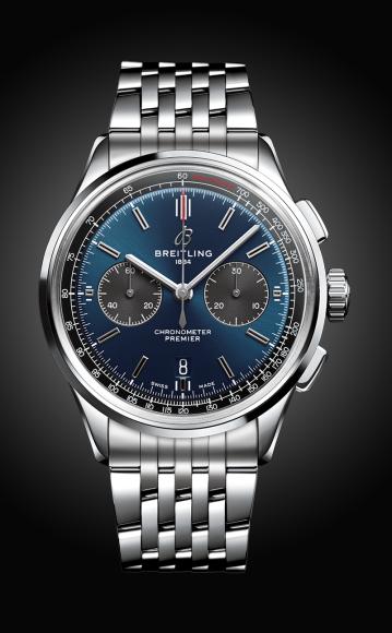 Часы Premier B01 Chronograph 42с синим циферблатом и браслетом из нержавеющей стали