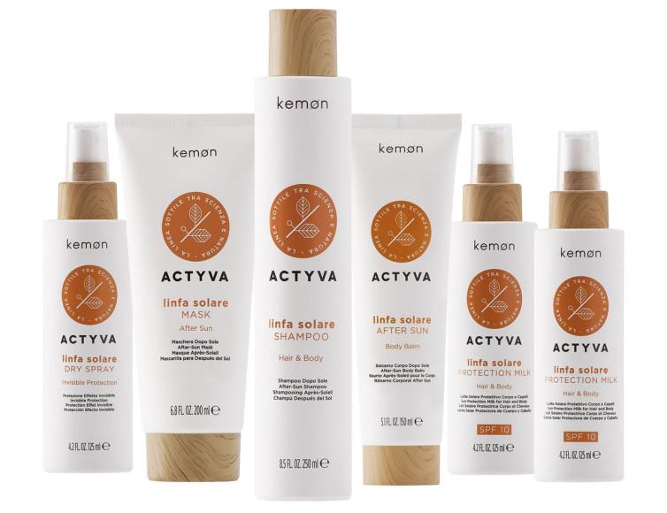 ЛинияLinfa SolarActyva для защиты, восстановления и укладки волос во время летнего периода, Kemon