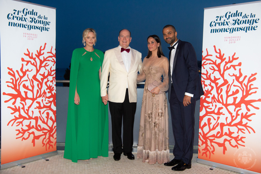 Княгиня Шарлен, князь Альбер II, Аксель Франсин и Тони Паркер