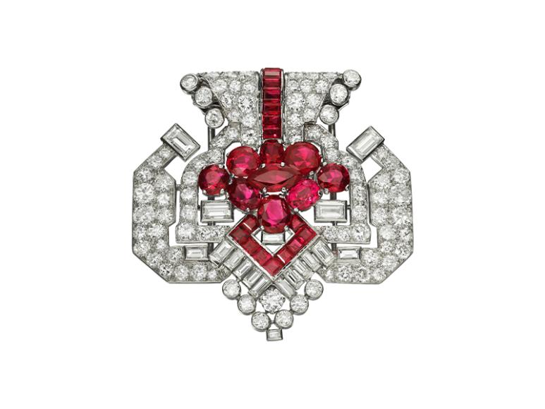 Брошь 1955 года с рубинами и бриллиантами,Cartier