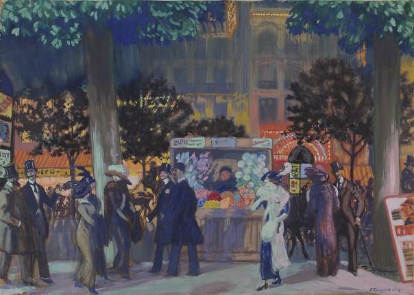 """Б.М. Кустодиев. """"Парижский бульвар ночью"""", 1913"""