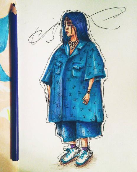 Билли Айлиш. Рисунок Насти Ковтун