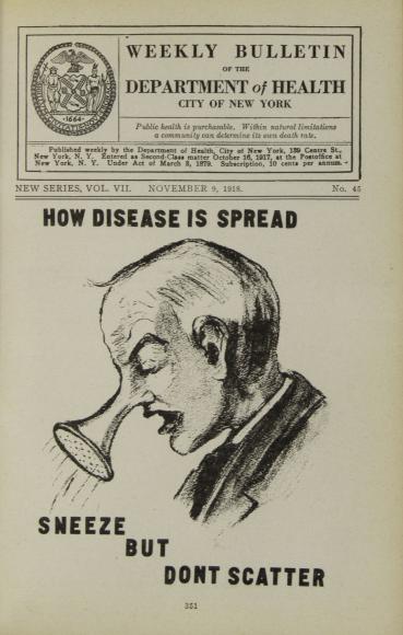 «Чихай, но не разбрызгивай». Обложка еженедельного бюллетеня Департамента здравоохранения Нью-Йорка, 1918 год
