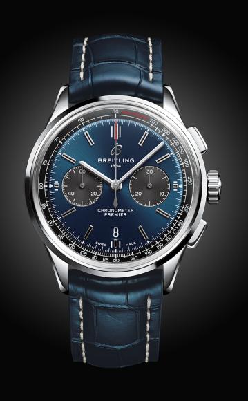Часы Premier B01 Chronograph 42с синим циферблатом и синим ремешком из кожи аллигатора