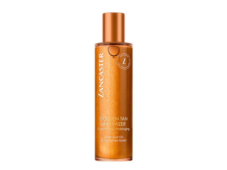 Средство для ухода за кожей после загара Golden Tan Maximizer After-Sun Oil, Lancaster. Включает шесть видов натуральных масел, в том числе масло бурити, которое помогает меланину равномерно покрыть кожу загаром, антиоксидантный комплекс для упругости кожи, а также золотые перламутровые пигменты для легкого мерцания кожи.