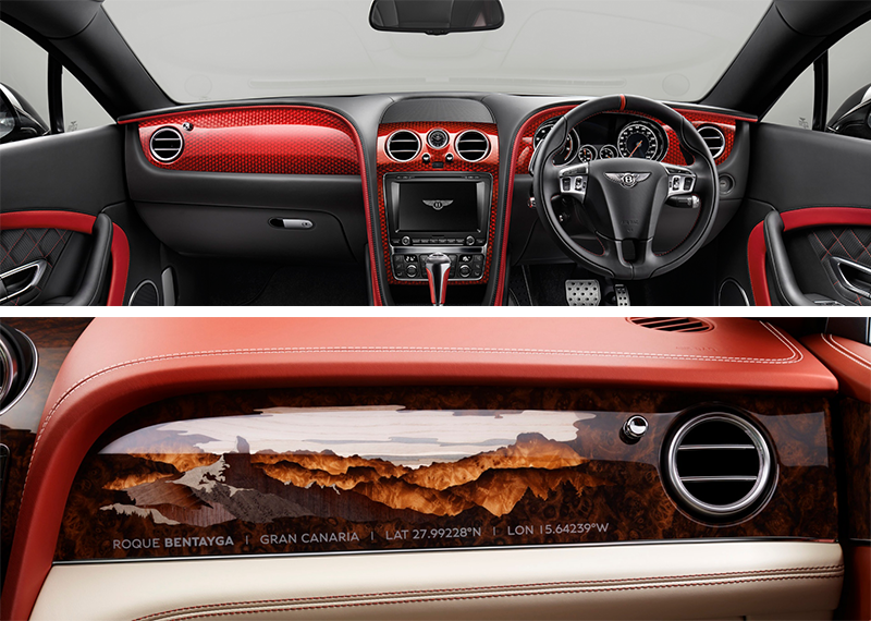 Яркая отделка углепластиком передней панели автомобиля