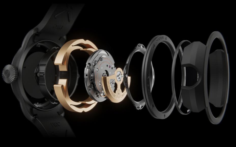 Структура корпуса часов Big Pilot's Watch Shock Absorber XPL