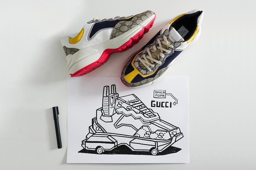 Кроссовки, созданные в приложенииGucci Sneaker Garage