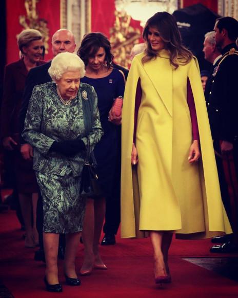 В Valentino на встрече с королевой Елизаветой II в Букингемском дворце, 2019 год