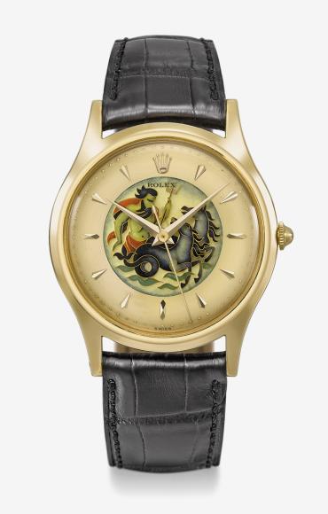 Часы с перегородчатой эмалью, Rolex, ок. 1953. Эстимейт 350–550 тысячшвейцарских франков, проданы за 348 тысячшвейцарских франков