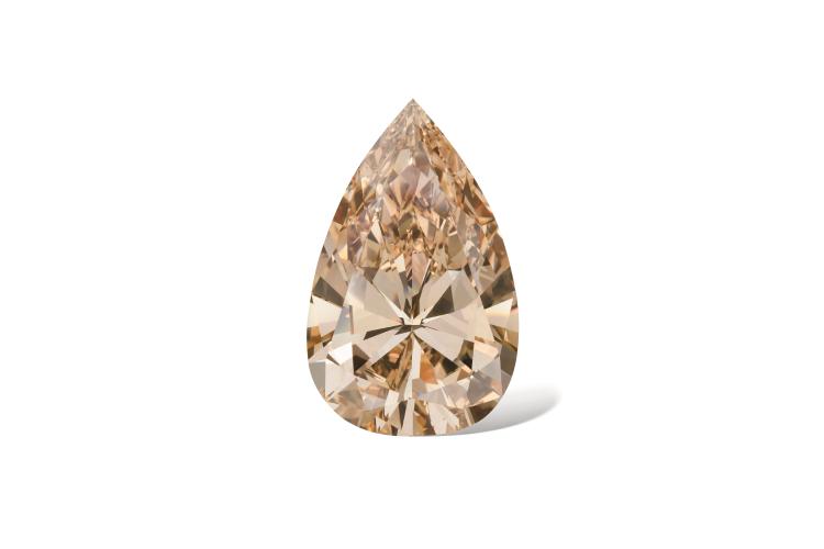 Ожерелье с подвеской из коричневато-желтого бриллианта грушевидной огранки весом 141,22 карата