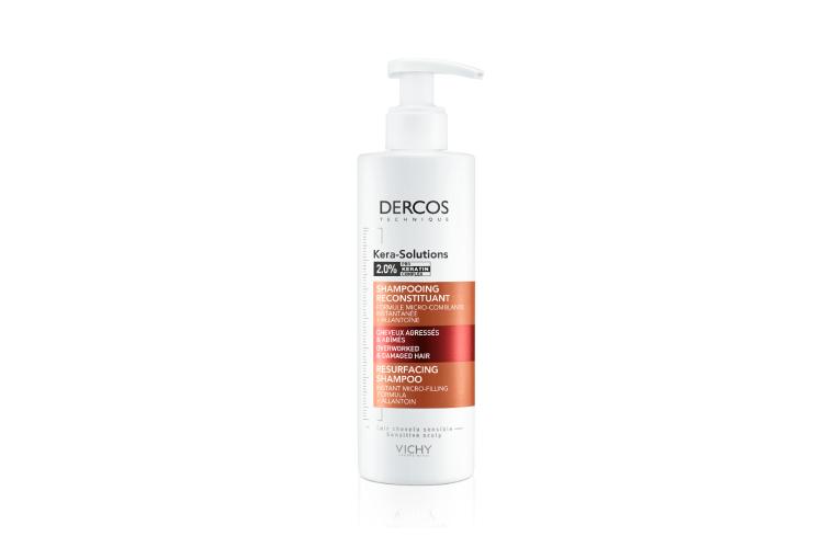 Шампунь Kera-Solutions, Dercos разработан для ослабленных и поврежденных волос и чувствительной кожи головы. Он реконструирует кутикулу за счет комплекса «Про-Кератин» иаллантоина