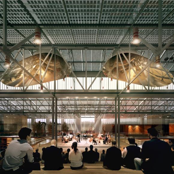 Эскиз одного из пространств ГЭС-2 по проекту Renzo Piano Building Workshop