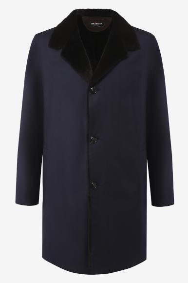 Утепленное пальто из ультралегкого кашемира и воротником из меха ласки