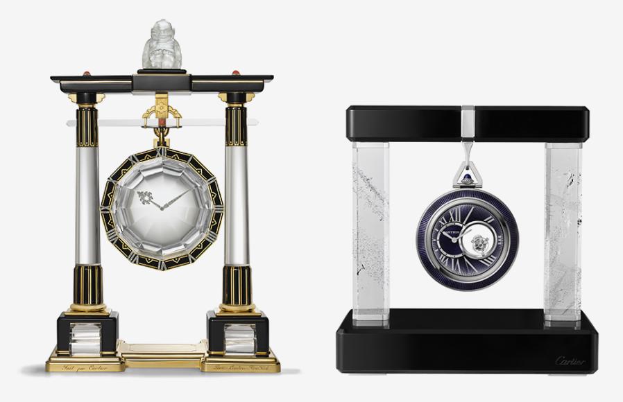 Большие часы-колонна, Cartier Paris, 1923; карманные часы на подставке, Cartier, 2016