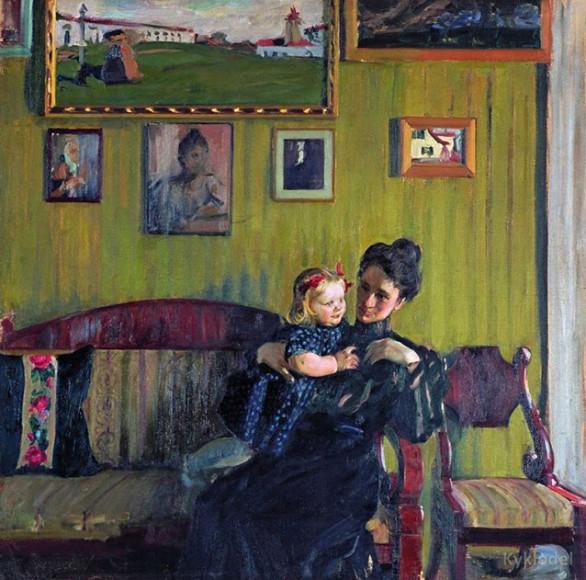 Б. М. Кустодиев «Портрет жены с дочерью Ириной»