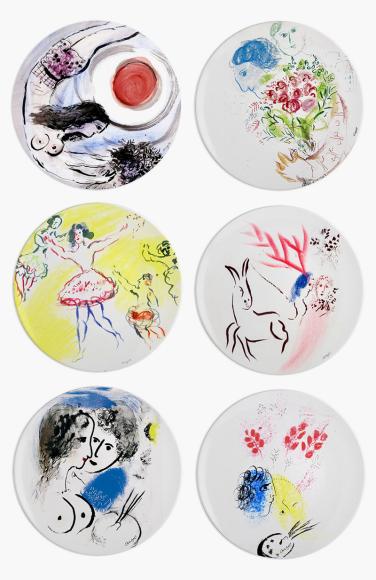 Набор из шестиобеденных тарелок Collection Marc Chagall, Bernardaud, 54 800 руб.