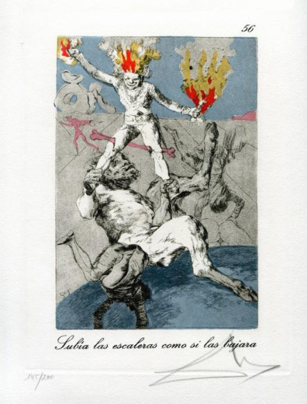 Сальвадор Дали. Гравюра «Как вознесся, так и падешь», 1977