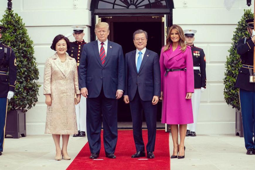 В Louis Vuitton на встрече с президентом и первой леди Южной Кореи, 2019 год