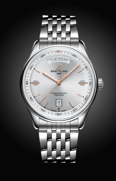 Часы Premier Automatic Day & Date 40 с циферблатом серебряного цвета и браслетом из нержавеющей стали