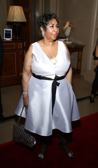 Арета Франклин на праздновании своего 74-го дня рождения в нью-йоркском The Ritz-Carlton, 14 апреля 2016