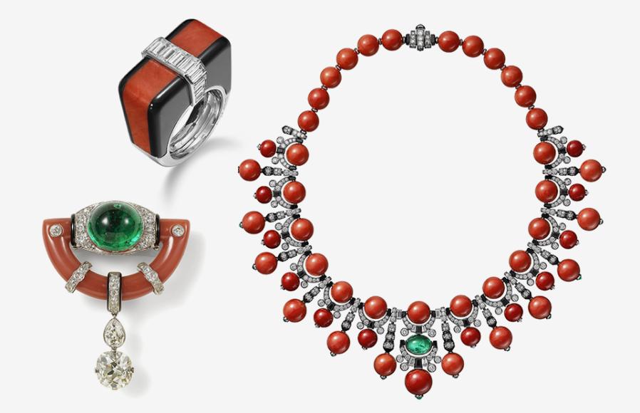 Кольцо, Cartier Paris, 1974; брошь, изготовленная по спецзаказу, Cartier New York, 1925; ожерелье, Cartier, 2017