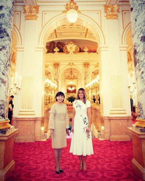 ВCarolina Herrera во время визита во Дворец Акасака в Токио, 2019 год