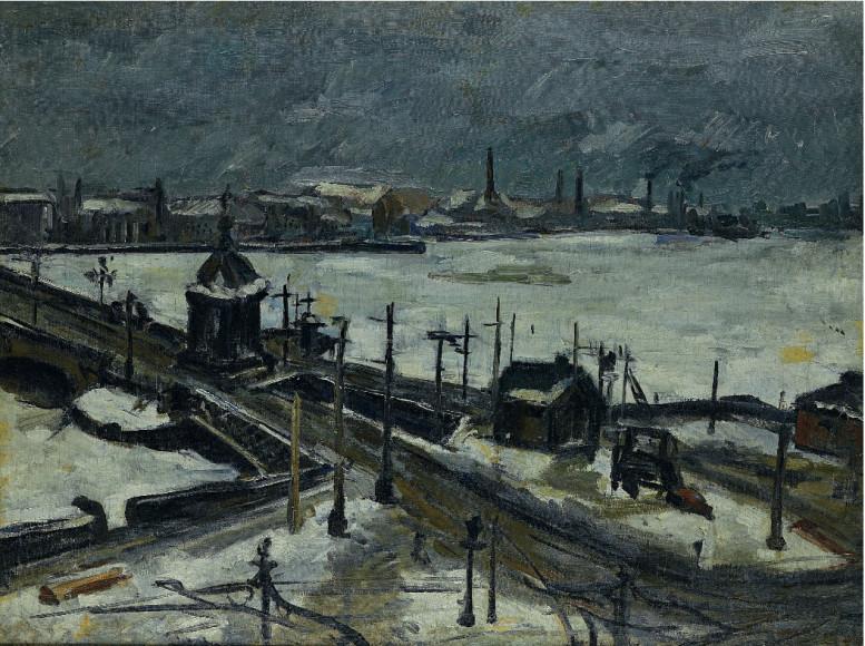 ЛеонидЗусман. «Городской пейзаж с мостом», 1924