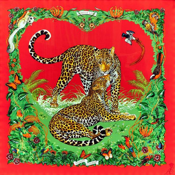 Платок Hermès «Jungle Love», автор — Робер Далле (Robert Dallet) (1923-2006), появился на свет в 2000 году. Данный платок был изготовлен в 2011 году по специальному заказу Князя Монако Альбера II и Шарлен Уиттсток, в качестве подарка гостьям их свадьбы, которая состоялась 1 июля 2011 года. Этот «Jungle Love» был выпущен в количестве 200 экземпляров, никогда не поступал в продажу и является огромной коллекционной редкостью. В правом нижнем углу расположена монограмма молодоженов — АС (Альбер-Шарлен) под короной.
