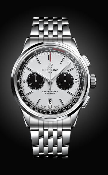Часы Premier B01 Chronograph 42с белым циферблатом и браслетом из нержавеющей стали